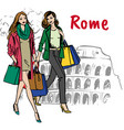 woman in rome vector image vector image