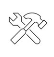 wrench crosses hammer vector image vector image
