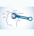 wrench screwing nut on head outline vector image vector image