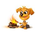 yellow fun dog fries sausage at fire stake vector image vector image