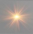 yellow glowing light burst explosion on vector image