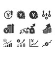 yen currency increase icon set japanese money vector image vector image