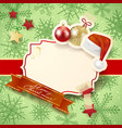 christmas with label baubles and hat vector image