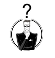 Businessman confused with red question mark vector image