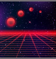 80s neon grids and starry sky and moon vector image vector image