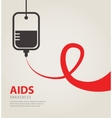 A blood donation bag with tube shaped as a AIDS vector image vector image