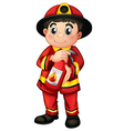 A fire man holding a fire extinguisher vector image vector image