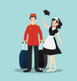 bellboy and housekeeper in different character vector image vector image