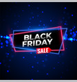 black friday sale neon background with glowing vector image vector image