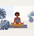 black woman yoga at home background vector image