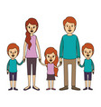 color image caricature family with young parents vector image vector image