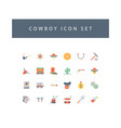 cowboys icon set with colorful modern flat style vector image