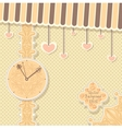 Cute vintage postcard with clock and hearts for vector image