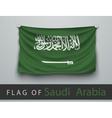flag of saudi arabia battered hung on wall vector image vector image