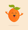 funny happy apricot character design vector image vector image