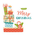 gifts stack christmas postcard pile gifts heap vector image