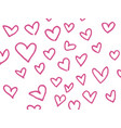 hand drawn hearts on white vector image vector image