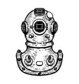hand drawn retro style diver helmet on white vector image vector image