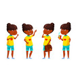 indian girl kid poses set primary school vector image vector image