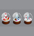 isometric set of merry christmas glass ball vector image vector image