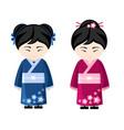 japanese girls in kimono vector image