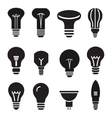 Light bulb set icons on white background vector image