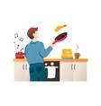 man baking pancakes cartoon character guy vector image