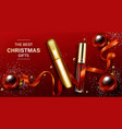 mascara and lip gloss christmas cosmetics gifts vector image vector image