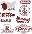 Moscow Russia - set of skylines and emblems vector image vector image