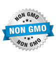 non gmo 3d silver badge with blue ribbon vector image vector image