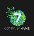 number seven logo particles and bubble dots vector image