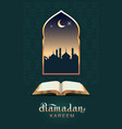 ramadan kareem open book koran and moon vector image vector image