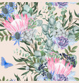 seamless pattern with protea and greenery vector image vector image