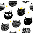 seamless wallpaper with cute cats heads vector image
