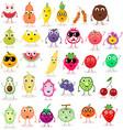 set cute cartoon fruits exotic tropical vector image
