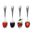 set of metal spoons with berries strawberries vector image