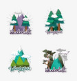 set pine trees with clouds and ice mountains vector image vector image