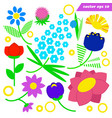 set simple wild cute field flowers vector image vector image