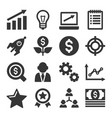 startup business icons set vector image vector image