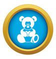teddy bear holding a heart icon blue vector image