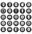 tire icons set vetor black vector image
