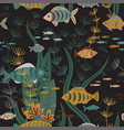 underwater fishes life seamless pattern vector image vector image