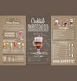 vintage cocktail menu design on cardboard vector image vector image