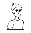 young man with ski mask avatar character vector image vector image