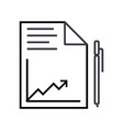 document report with graph and pen line vector image