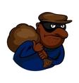Cartoon thief or burglar character with bag vector image