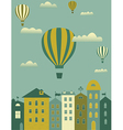 Hot air balloon over the town vector image