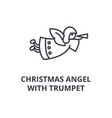 christmas angel with trumpet line icon outline vector image