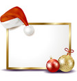 christmas signboard with christmas hat vector image