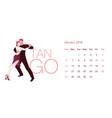 2019 dance calendar january elegant couple vector image vector image